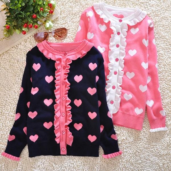 春款女童毛衣 3-4-5-6-7-8-9-10-12岁儿童双层薄款全棉针织开衫