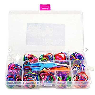 芙蓉天使 彩虹织机儿童手工彩色橡皮筋手链编织机套装 400根皮筋