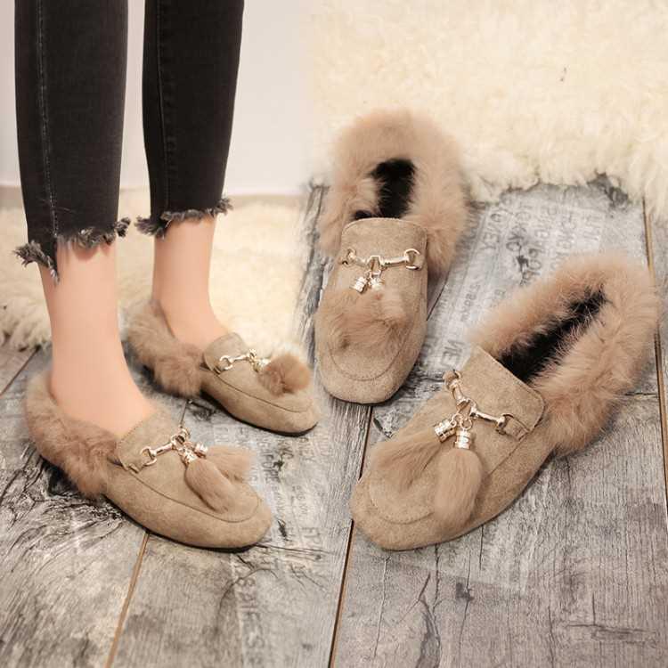 毛毛鞋秋冬新款一脚蹬懒人女鞋加绒大码平跟单鞋平底棉瓢鞋豆豆鞋