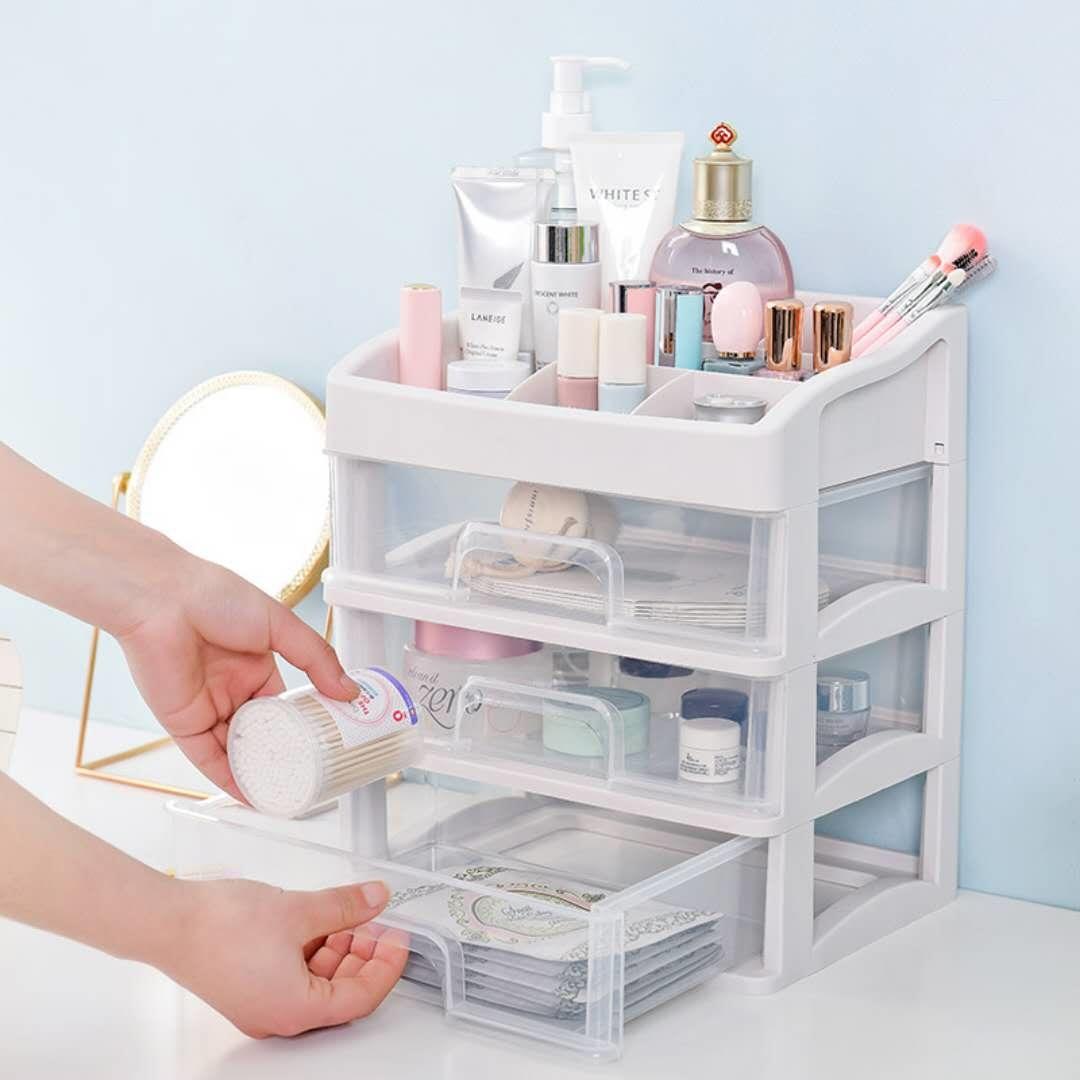 桌面化妆品收纳盒大号首饰收纳箱梳妆台收纳盒透明塑料整理盒