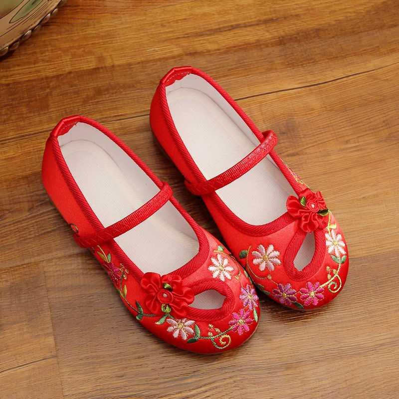 老北京布鞋儿童古装女布鞋幼儿园舞蹈鞋女童绣花鞋表演出鞋公主鞋