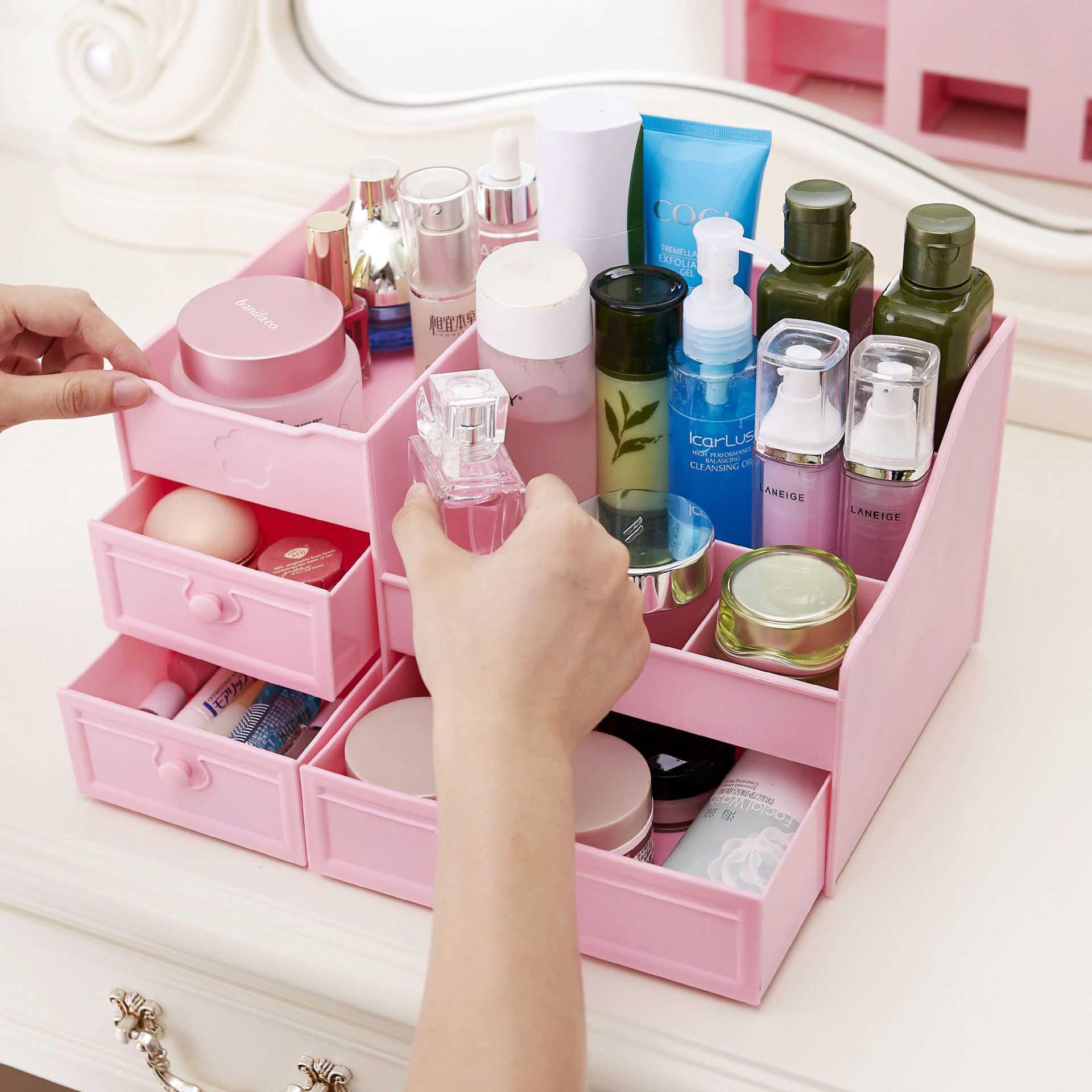 【三年质保】桌面化妆品收纳盒护肤首饰抽屉式置物架卫生间梳妆台