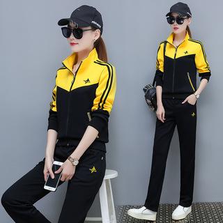 2019春秋新款女装韩版女运动休闲套装大码宽松长裤两件套外套潮WZ