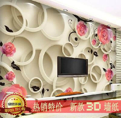 3d玫瑰立体电视背景墙纸