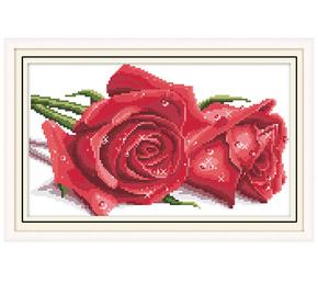 印花十字绣玫瑰花卉花草系列2018新款客厅卧室餐厅小幅挂画红蓝色