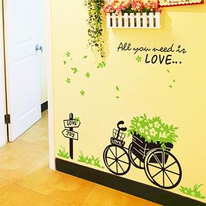 浪漫客厅卧室背景装饰墙贴纸 可移除走廊过道田园贴画 爱情花车