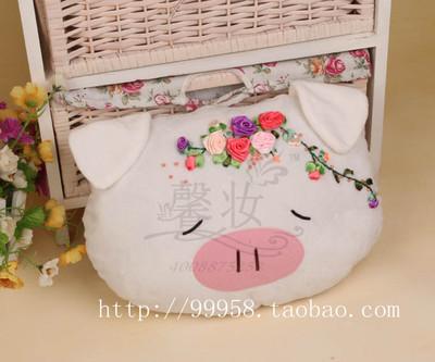新品限量特价正品苏绣十字绣馨妆丝带绣抱枕套件靠枕6202幸福小猪