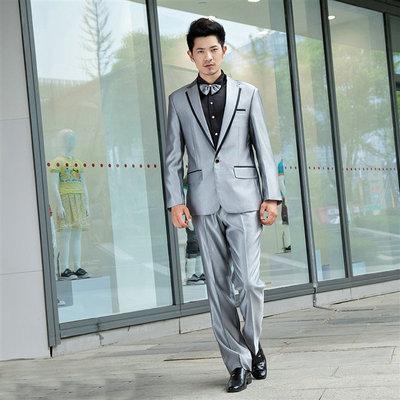 新款男装礼服演出服男西服套装银灰色亮面主持人服装歌手司仪表演
