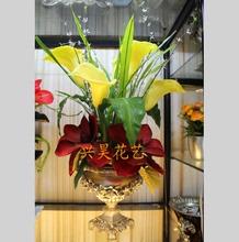 欧式客厅玄关酒店 落地大花瓶套装 大厅陶瓷电镀复古罗马柱仿真插花