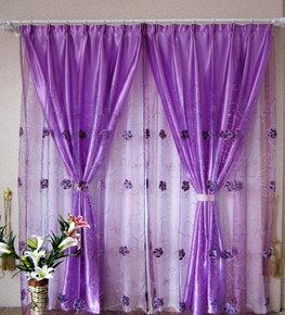 窗帘紫色遮光绣花窗纱布料成品特价清仓客厅卧室阳台飘窗租房田园