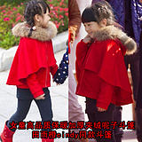 Where is Dad? Mori dish star with the paragraph 2019 new children's clothing wool cloak girl plus velvet cloak
