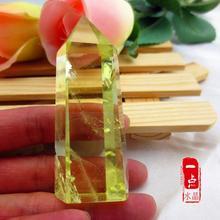 招财 黄水晶六棱原石柱子摆件 正品 巴西纯天然黄水晶柱摆件