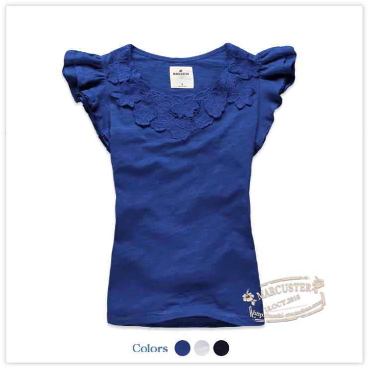 2018夏装新款女装竹节棉绣花短袖白T恤MAWT32122