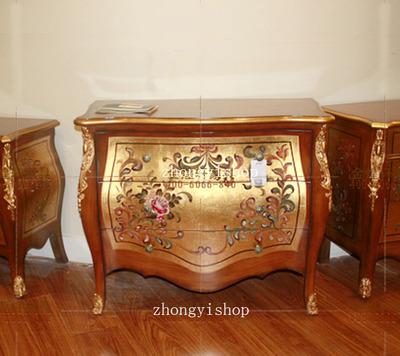 出口家具东南亚风格家具手绘家具三斗柜牛肚柜储物柜玄关柜装饰柜
