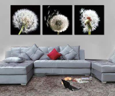 蒲公英欧式挂画壁画/时尚客厅无框画三联画/现代沙发背景墙装饰画哪里购买