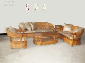 明月轩藤艺藤木家具腾沙发组合户外竹藤沙发藤编植物藤木沙发8102