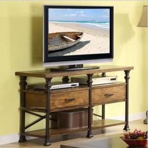 高档电视柜 带抽屉桌子 客厅靠墙置物架美式乡村长桌loft风格做旧