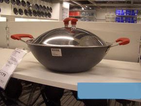 宜家国内代购伊坦迪 带盖中式炒菜锅 中式不粘炒菜烹饪锅炊具