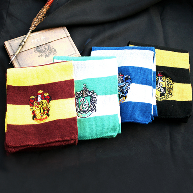 哈利 四学院全套 哈利波特围巾格兰芬多围巾帽子套装 六一礼物