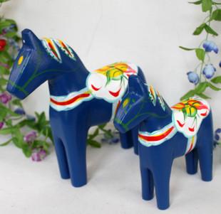 馨迪维拉 家居摆设 巴厘岛风格 原木雕刻  蓝色马