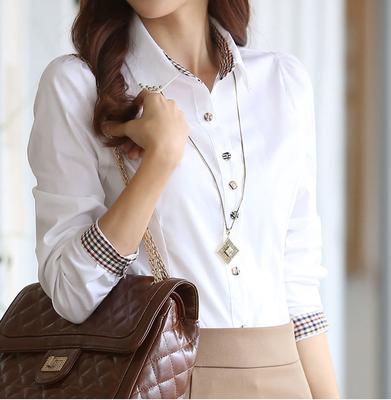 春秋装新款大码女性衬衫包邮拼接女装潮大码职业女装衬衣白色长袖