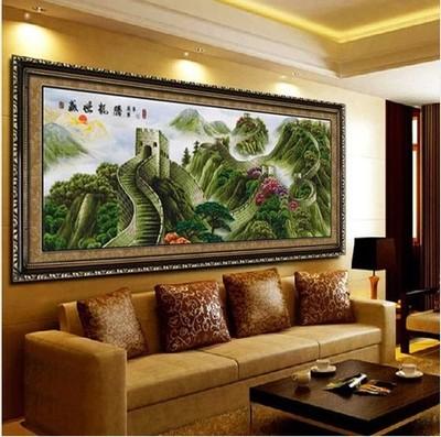 华晨家居十字绣成品  客厅办公室大幅山水系列画万里长城盛世龙腾