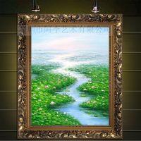 手绘欧式挂画餐厅油画玄关竖客厅装饰画有框画荷塘田园风景48245