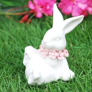 可爱家居饰品 陶瓷12十二生肖摆件 花园新房瓷器兔子婚庆礼品玉兔