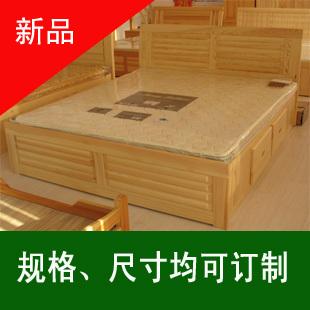 大连住宅家具实木双人床1.51.8米松木床高箱大抽屉实木床带床板