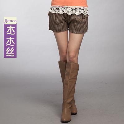 漫境5 杰杰丝女装 韩版清新气质小千鸟格纹百搭短裤 春装新款新款
