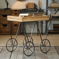 威梦复古铁艺实木餐车时尚酒水手酒店创意移动小餐车书架餐车推车