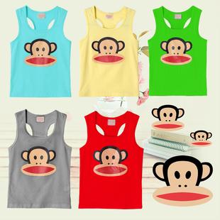 包邮14韩版儿童工字纯棉 宝宝夏季背心 女童大嘴猴童装 男童T恤
