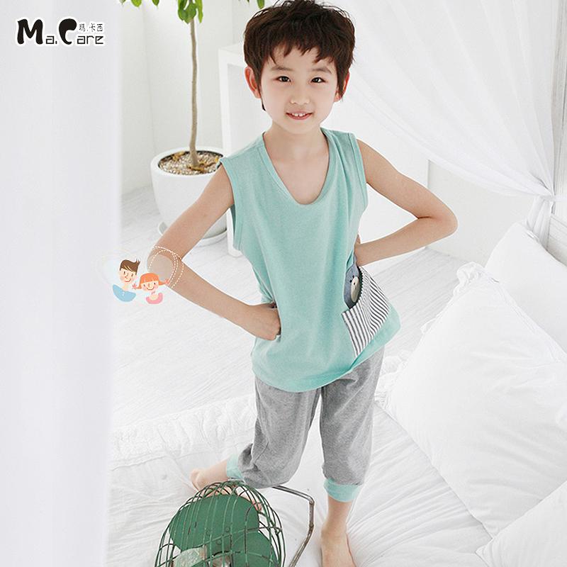 儿童睡衣男童夏季新款男孩家居服短袖短裤套装中大童空调服