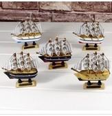 客厅书房卧室摆件10cm 饰品地中海 创意家居装 木制帆船模型