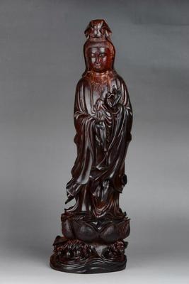 印度小叶紫檀金星牛毛纹木雕工艺品滴水观音摆件