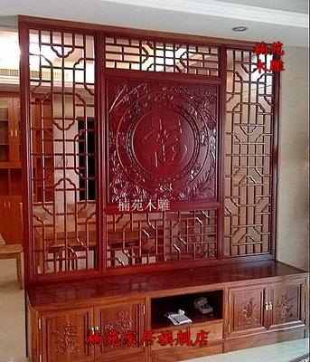 东阳木雕 中式客厅电视柜背景墙 实木镂空花格 仿古门窗隔断屏风价格