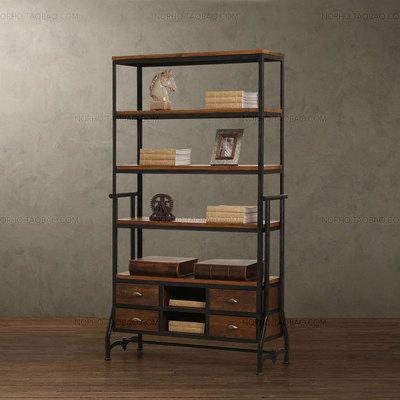 美式复古工业LOFT风格 实木做旧铁艺书架 老松木书柜 实木置物架