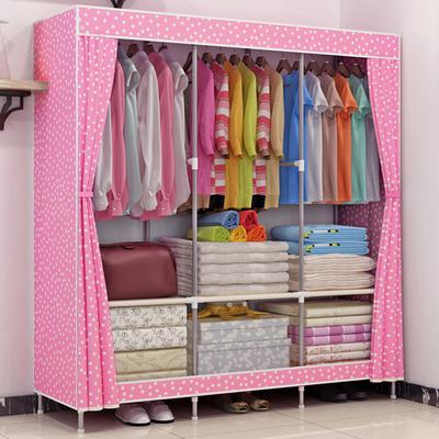 组装钢架简易布艺衣柜大号双人帆布衣柜不锈钢加固收纳折叠布柜实体店