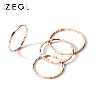 ZENGLIU韩国细戒指女镀18K玫瑰金食指环关节戒子饰品日韩装 饰戒指