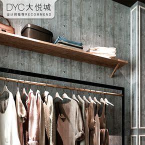 复古怀旧墙纸仿木板餐厅个性时尚店铺装修韩式女装服装店木纹壁纸