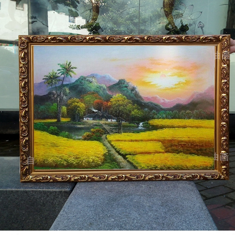 油畫手繪客廳風景酒店