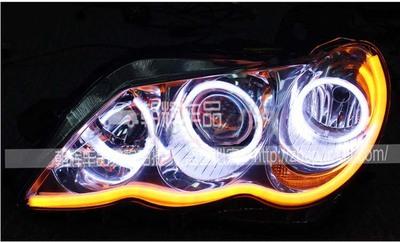 丰田老锐志大灯总成改装Q5双光透镜 天使眼/恶魔眼 LED日行灯泪眼