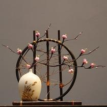 新中式陶瓷花瓶 插花干花瓶客厅电视柜摆件竹编假花 装饰现代简约