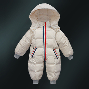 儿童羽绒服婴儿外套宝宝加厚冬装哈衣爬服男女童白鸭绒连体羽绒服