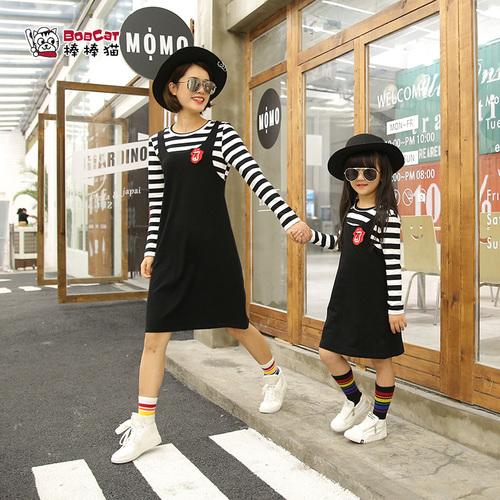 母女亲子装 韩版休闲条纹长袖 儿童春秋裙子潮女童装假两件连衣裙