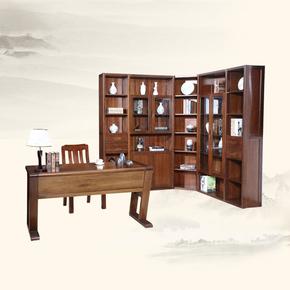 胡桃木书柜 全实木转角书柜组合 木质书橱书架 现代中式3三门书柜