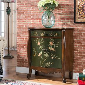 美式田园彩绘玄关柜做旧门厅装饰柜地中海客厅收纳柜子储物家具柜