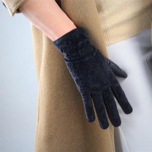 马毛真皮手套 长绒仿皮草黑色冬季保暖中长女款绵羊皮内衬绒里