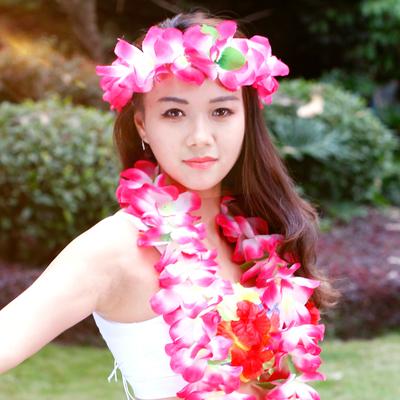 成人演出表演服装男女 草裙配套夏威夷花环四件套头花头环手环