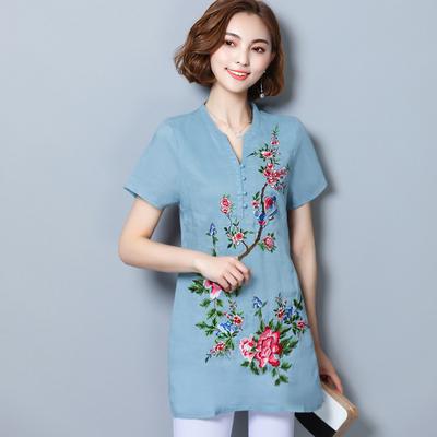 2018夏装中国风民族风大码棉麻女装刺绣花短袖中长款衬衫上衣衬衣